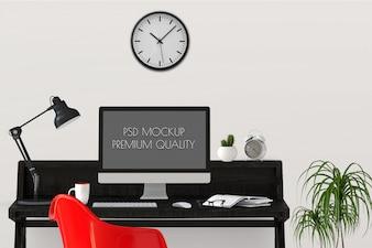 Mock up working area with Desktop computer. 3d render