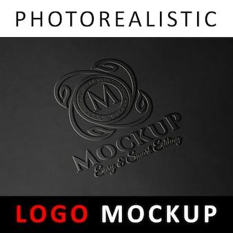 Логотип mock up - литой логотип с эмбоссированным слоем на поверхности пластика