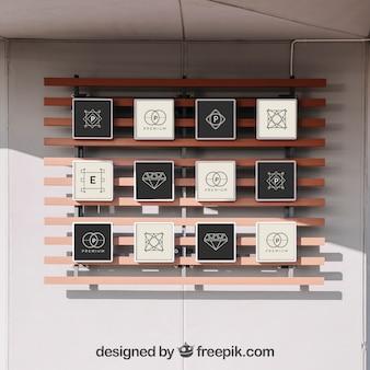 Mockup of 12 frames on wall