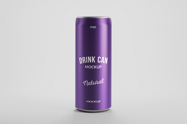 Mockup of 250ml aluminium energy drink can product packaging