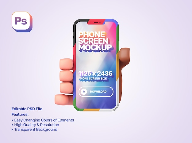 Mockup 3d cartoon hand holding and showing smartphone in portrait orientation