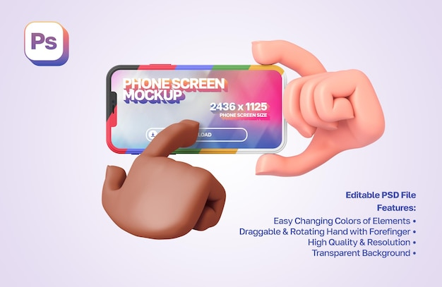 Mockup 3d cartoon hand holds a smartphone in landscape orientation, the other hand presses on it