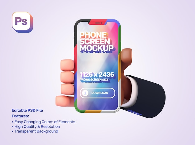 Mockup 3d cartoon hand with a sleeve holds and shows the smartphone in portrait orientation
