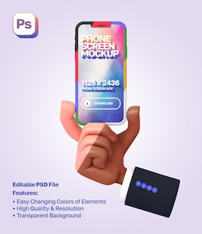 Mockup 3d cartoon hand with sleeve showing and holding the phone from below in portrait orientation