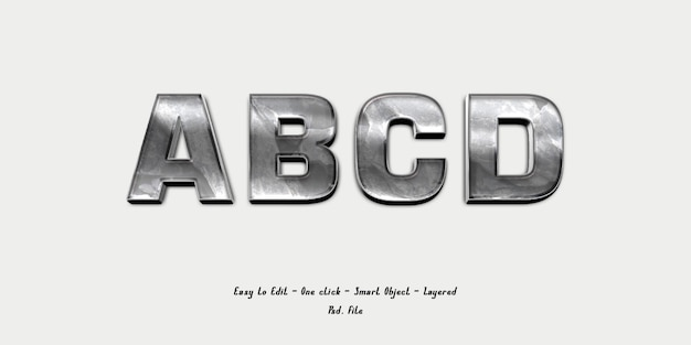 Mockup 3d effect font alphabet with silver texture