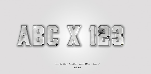 Mockup 3d font alphabet and number with silver color effect