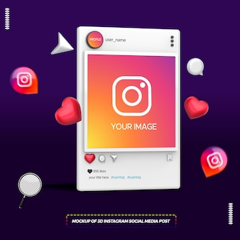 Mockup of 3d instagram social media post