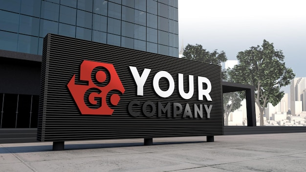Mockup 3d logo facade sign standing in front of modern building design