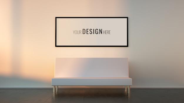 Mockup 3d modern interior editable frame