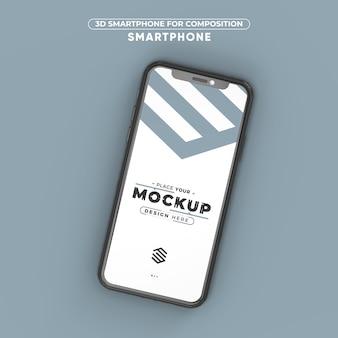 Mockup 3d render smartphone for composition