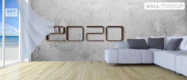 Mockup of 3d rendering shelf in living room