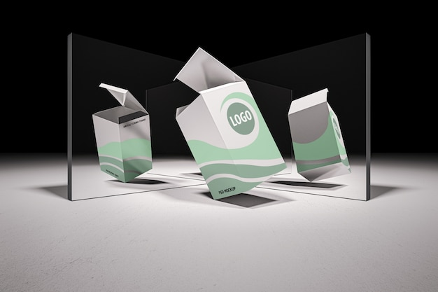 Mockup of 3d rendering of white box