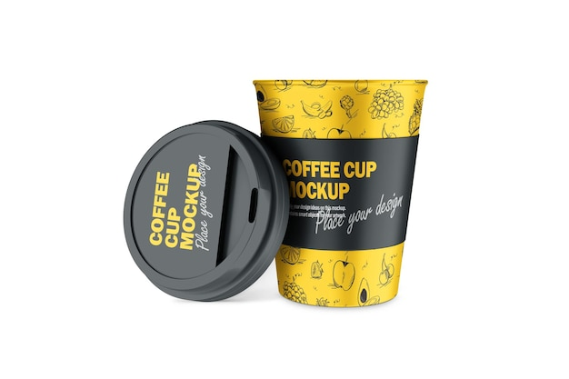 Mockup of 3d termo cup with opened plastic cap