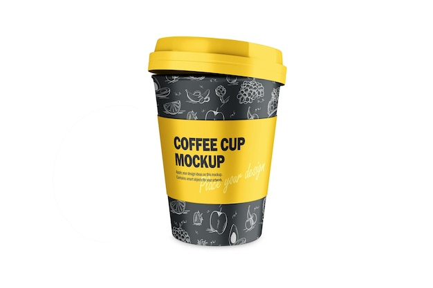 Mockup of 3d termo cup with plastic cap