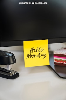 Mockup of adhesive note on monitor