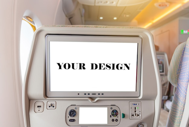Mockup of aircraft monitor on cabin in passenger seat plane interior