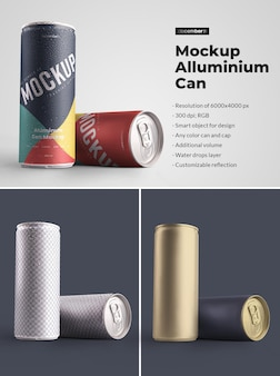 Mockup aluminium can 250 ml with water drops. design is easy in customizing images design (on can), color background, editable reflection, color can and cap, water drops.