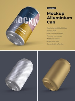 Mockup aluminium can 330 ml with water drops. design is easy in customizing images design (on can), color background, editable reflection, color can and cap, water drops.