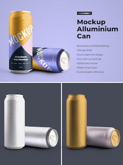 モックアップアルミ缶500ml水滴付き。デザインは、画像デザイン(缶)、色の背景、編集可能な反射、色の缶とキャップ、水滴をカスタマイズするのが簡単です。