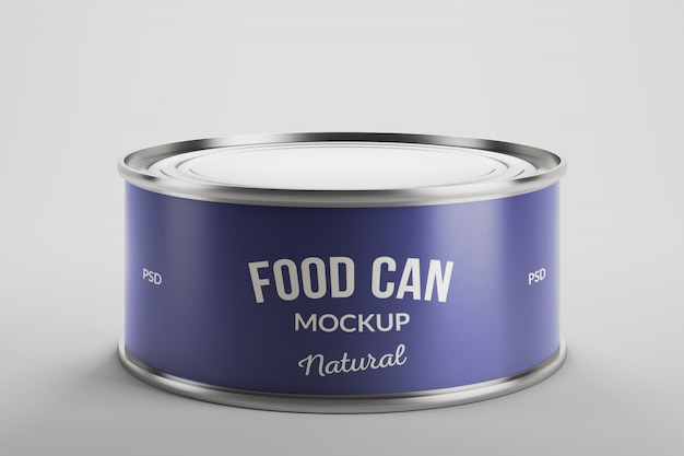 Mockup of aluminium food tin can product packaging