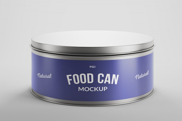 Mockup of aluminium food tin can product packaging