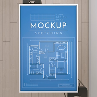 Mockup of artist room with sketching