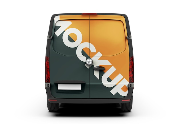 Mockup of a back van isolated