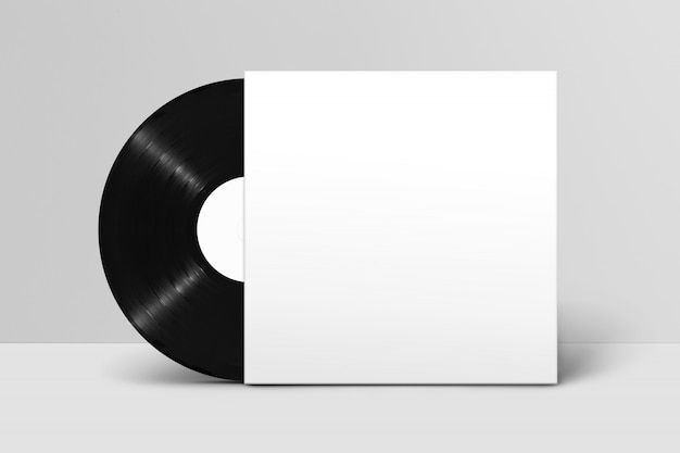 Mockup of back view standing blank vinyl record with cover against white wall