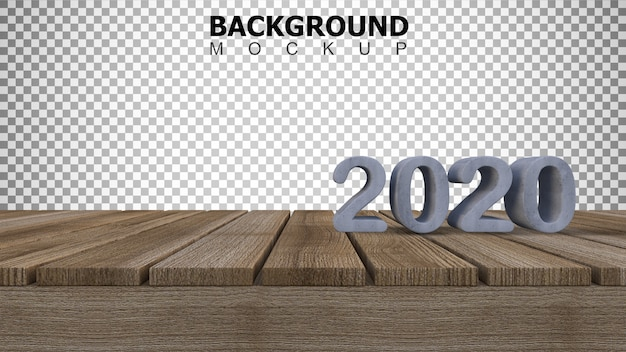 Mockup background for 3d rendering 2020 sign on wooden panel