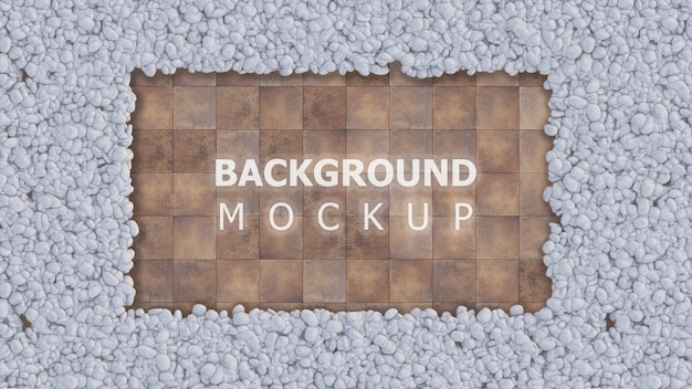 Mockup background and copy space on tile fllor with white color rock garden