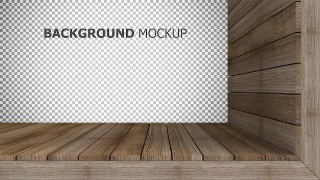 木製パネルの3 dレンダリングのモックアップの背景