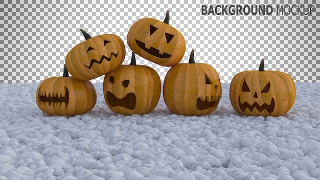 Mockup background for pumpkin heads on white color rock garden