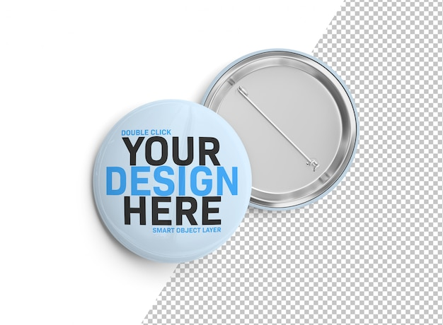 A mockup of a badge cut out on white