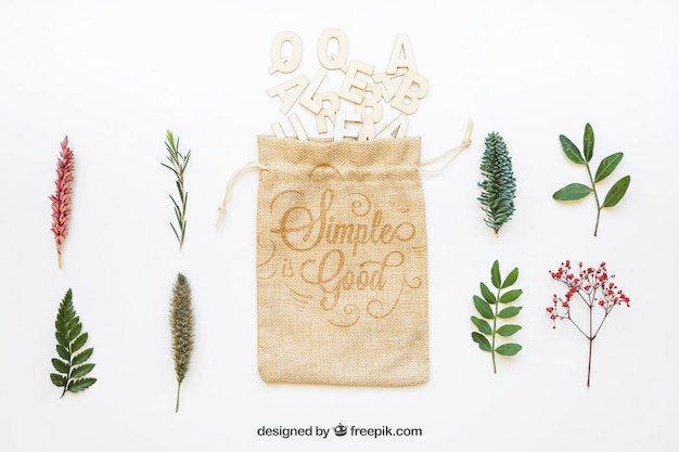 Mockup of bag different types of leaves