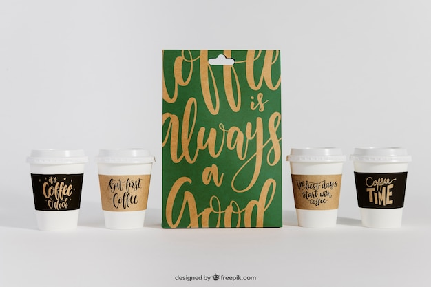 Mockup of bag and four coffee cups