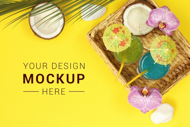 Mockup banner with cocktail and coconut in straw basket