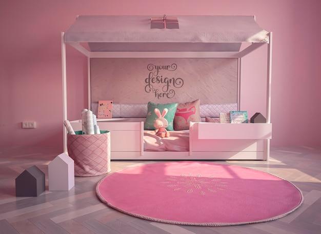 Mockup bed frame in kids room interior decorated