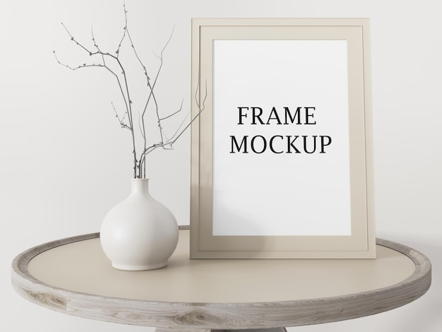 Mockup beige picture frame