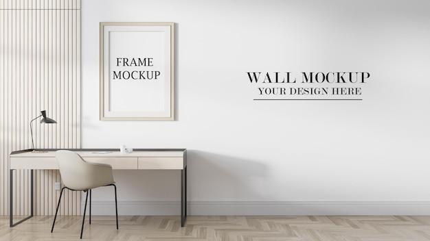 Макет бежевой рамки плаката и стены для ваших текстур