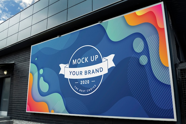 Mockup billboard on black wall