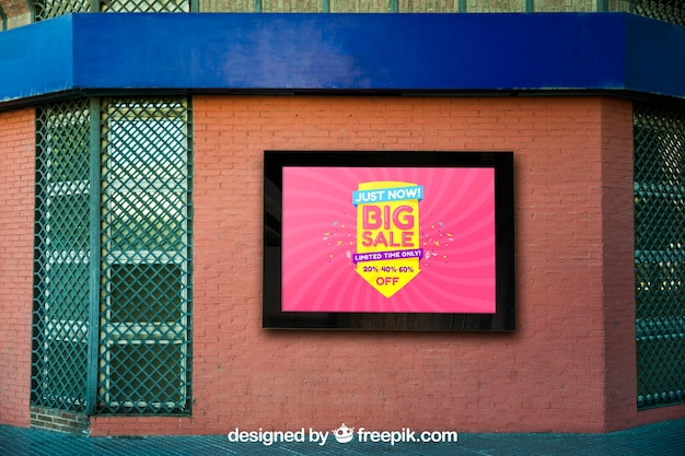 Mockup of billboard on brick wall building