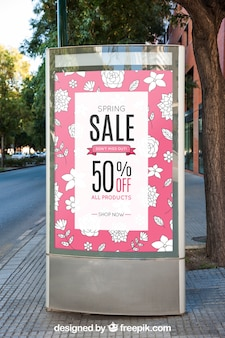 Mockup of billboard next to tree