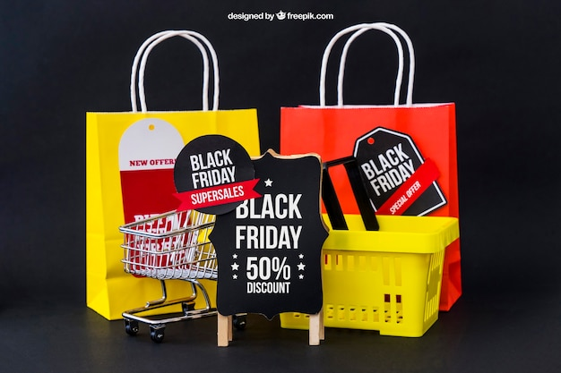 Mockup for black friday with bags and basket
