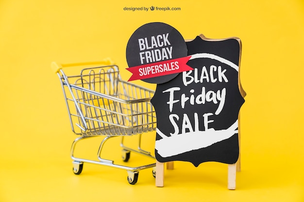 Mockup for black friday with cart and board