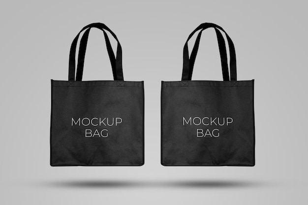 Mockup black tote bag fabric for shopping