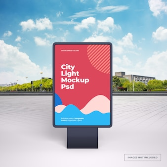 Mockup of black vertical outdoor advertising stand on city street
