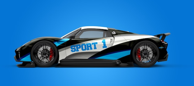 Mockup of a black and white sport car