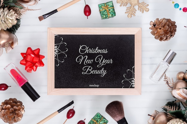 Mockup blackbord for beauty christmas new year concept