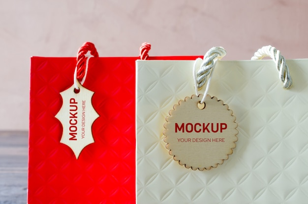 Mockup of blank craft package of paper shopping bag