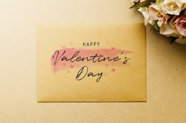 Mockup blank envelop on kraft paper for valentine's day.